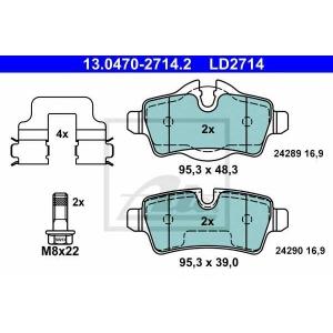 ATE 13.0470-2714.2 Комплект тормозных колодок, дисковый тормоз Мини