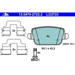 ATE 13.0470-2723.2 Комплект тормозных колодок, дисковый тормоз Форд Куга