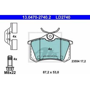 ATE 13.0470-2740.2 Комплект тормозных колодок, дисковый тормоз Рено Флюенсе