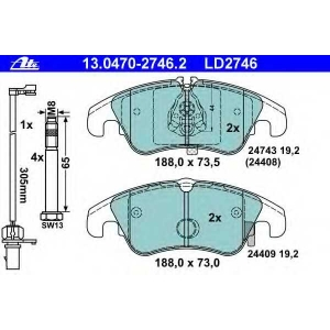 ATE 13.0470-2746.2 Комплект тормозных колодок, дисковый тормоз Ауди А4 Олроад