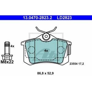 ATE 13.0470-2823.2 Комплект тормозных колодок, дисковый тормоз Ситроен С3 Плюриель
