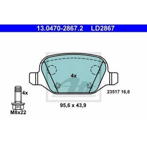 ATE 13.0470-2867.2 Комплект тормозных колодок, дисковый тормоз Лансия