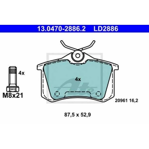 ATE 13.0470-2886.2 Комплект тормозных колодок, дисковый тормоз Ауди Оллроад