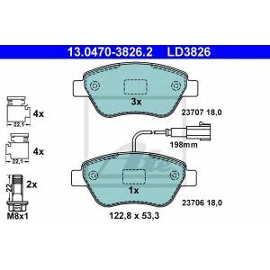 ATE 13.0470-3826.2 Комплект тормозных колодок, дисковый тормоз Фиат Кьюбо