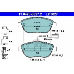 ATE 13.0470-3827.2 Комплект тормозных колодок, дисковый тормоз Фиат Кьюбо