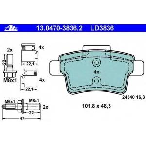 ATE 13.0470-3836.2 Комплект тормозных колодок, дисковый тормоз Ситроен С4 Пикасо