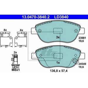 ATE 13.0470-3840.2 Комплект тормозных колодок, дисковый тормоз Фиат 500Л