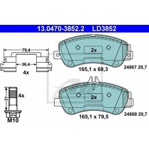 ATE 13.0470-3852.2 Комплект тормозных колодок, дисковый тормоз Мерседес Джт Л-Класс