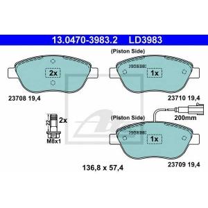 ATE 13.0470-3983.2 Комплект тормозных колодок, дисковый тормоз Фиат