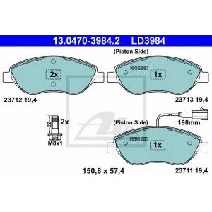 ATE 13.0470-3984.2 Комплект тормозных колодок, дисковый тормоз Фиат