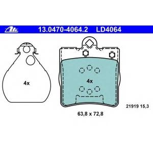 ATE 13.0470-4064.2 Комплект тормозных колодок, дисковый тормоз Крайслер Кроссфайр