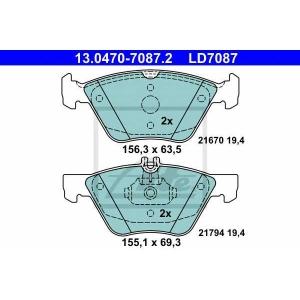 ATE 13.0470-7087.2 Комплект тормозных колодок, дисковый тормоз Крайслер Кроссфайр
