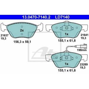 ATE 13.0470-7140.2 Комплект тормозных колодок, дисковый тормоз Фиат Мултипла