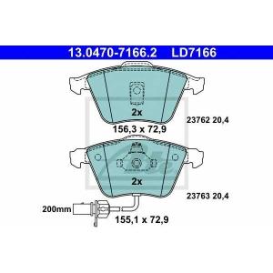 ATE 13.0470-7166.2 Комплект тормозных колодок, дисковый тормоз Ауди Оллроад