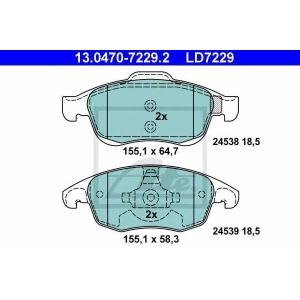 ATE 13.0470-7229.2 Комплект тормозных колодок, дисковый тормоз Ситроен С4 Гранд Пикасо