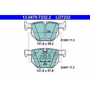 ATE 13.0470-7232.2 Комплект тормозных колодок, дисковый тормоз Бмв Х6