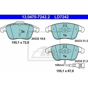 ATE 13.0470-7242.2 Комплект тормозных колодок, дисковый тормоз Ауди Кью 3