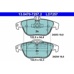 ATE 13.0470-7257.2 Комплект тормозных колодок, дисковый тормоз Мерседес Джт Л-Класс