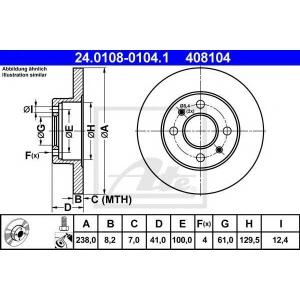 ATE 24.0108-0104.1 Тормозной диск Рено Рапид