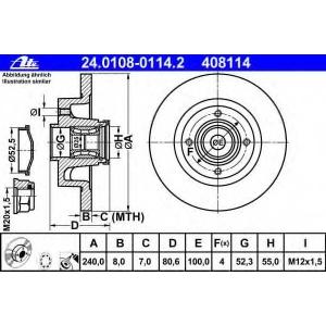 ATE 24.0108-0114.2 Тормозной диск Рено Модус