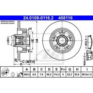 ATE 24.0108-0116.2 Тормозной диск Рено Флюенсе