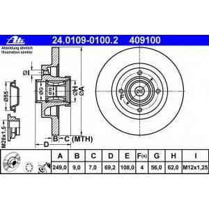 ATE 24.0109-0100.2 Тормозной диск Ситроен С4