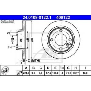 ATE 24.0109-0122.1 Тормозной диск Ситроен Ксантия