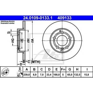 ATE 24.0109-0133.1 Тормозной диск Ауди Тт