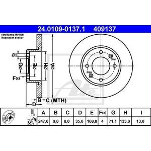 ATE 24.0109-0137.1 Тормозной диск Ситроен С3 Плюриель