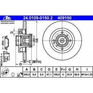 ATE 24.0109-0150.2 Тормозной диск Ситроен С4