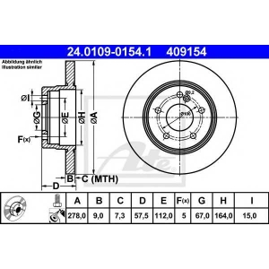 ATE 24.0109-0154.1 Тормозной диск Мерседес Ц-Класс
