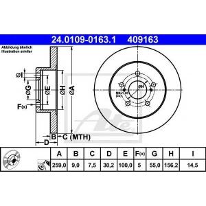 ATE 24.0109-0163.1 Тормозной диск Лексус Ст