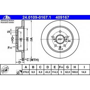ATE 24.0109-0167.1 Тормозной диск Фиат Седики