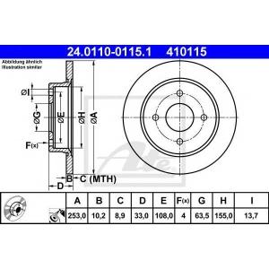 ATE 24.0110-0115.1 Тормозной диск Форд Сиерра