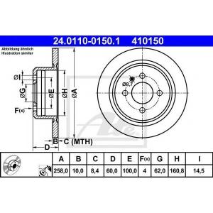ATE 24.0110-0150.1 Тормозной диск Бмв 3