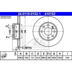 ATE 24.0110-0152.1 Тормозной диск Опель Корса