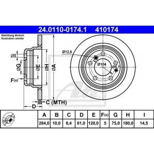 ATE 24.0110-0174.1 Тормозной диск Бмв 5