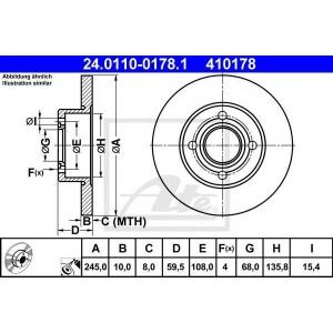 ATE 24.0110-0178.1 Тормозной диск Ауди 80