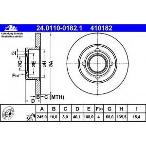 ATE 24.0110-0182.1 Тормозной диск Ауди 80