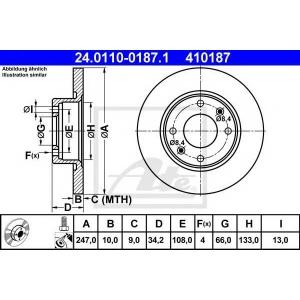 ATE 24.0110-0187.1 Тормозной диск Ситроен Зх