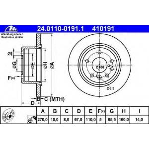 ATE 24.0110-0191.1 Тормозной диск Опель Омега