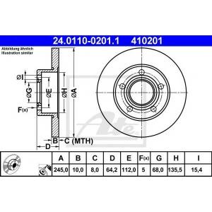 ATE 24.0110-0201.1 Тормозной диск Ауди А6
