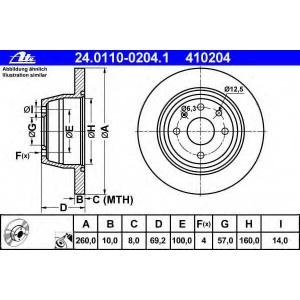 ATE 24.0110-0204.1 Тормозной диск Опель Астра