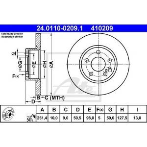 ATE 24.0110-0209.1 Тормозной диск Лансия