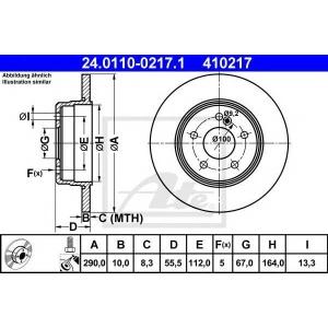 ATE 24.0110-0217.1 Тормозной диск Мерседес Слк