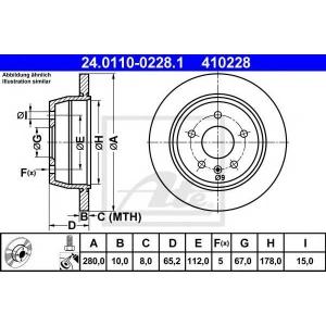 ATE 24.0110-0228.1 Тормозной диск Мерседес Вито