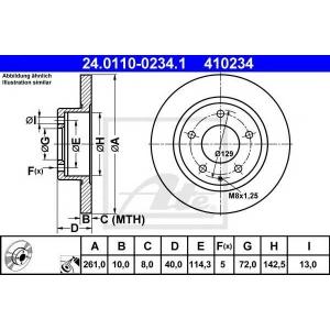 ATE 24.0110-0234.1 Тормозной диск Мазда Кседос 6