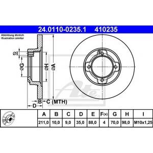 ATE 24.0110-0235.1 Тормозной диск Дайхатсу