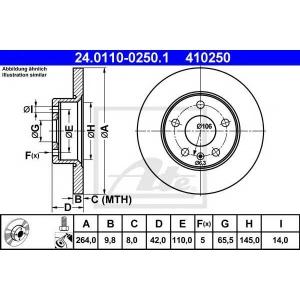 ATE 24.0110-0250.1 Тормозной диск Опель Зафира