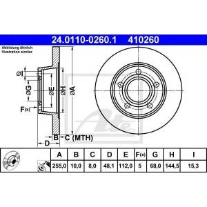 ATE 24.0110-0260.1 Тормозной диск Ауди Оллроад